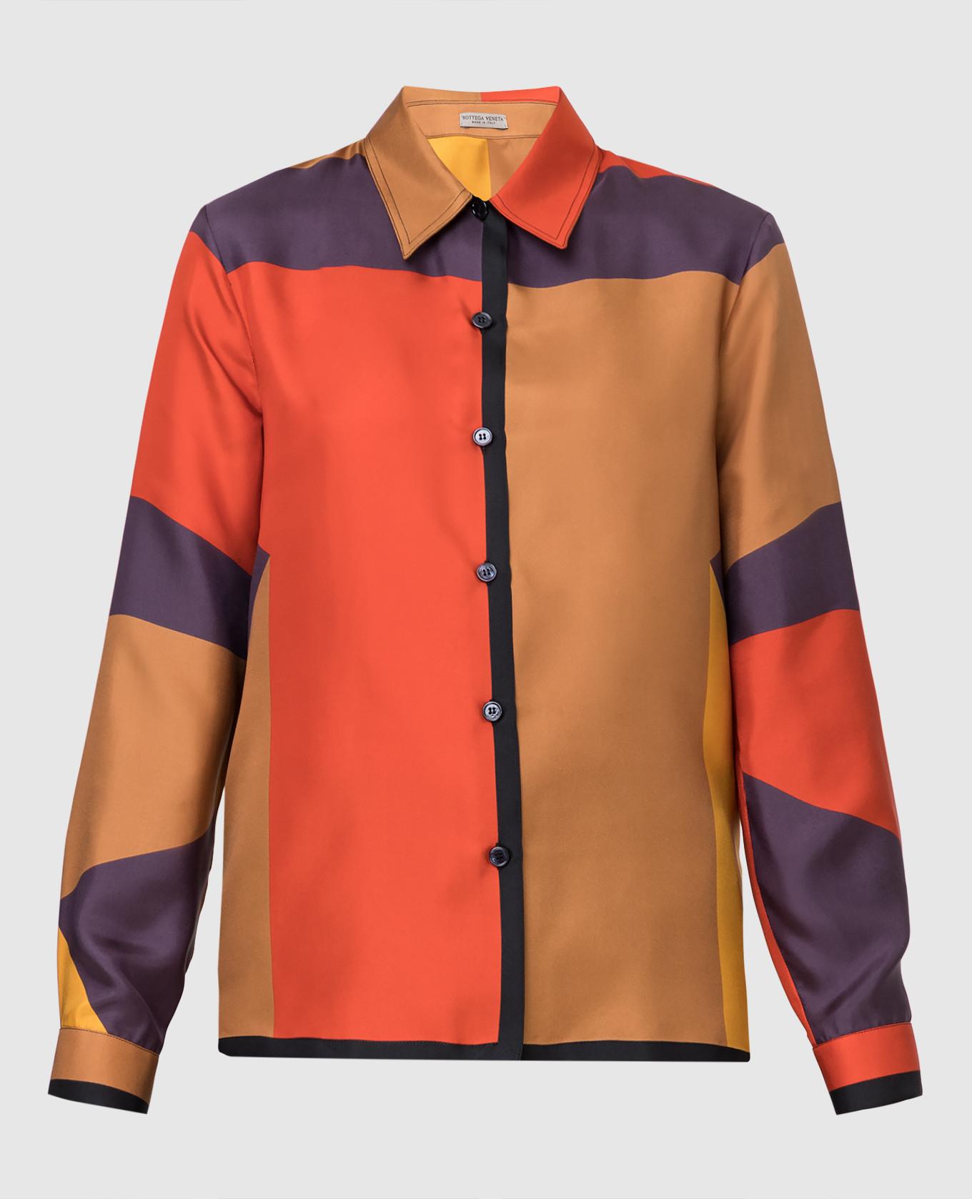 Коричневая рубашка из шелка