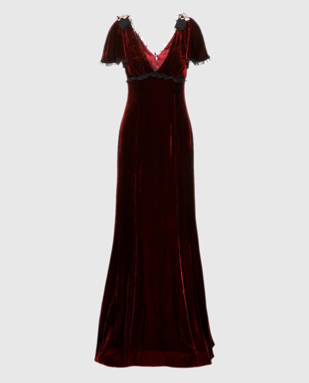 Dolce&Gabbana Бордовое платье F66E1ZFUVH9
