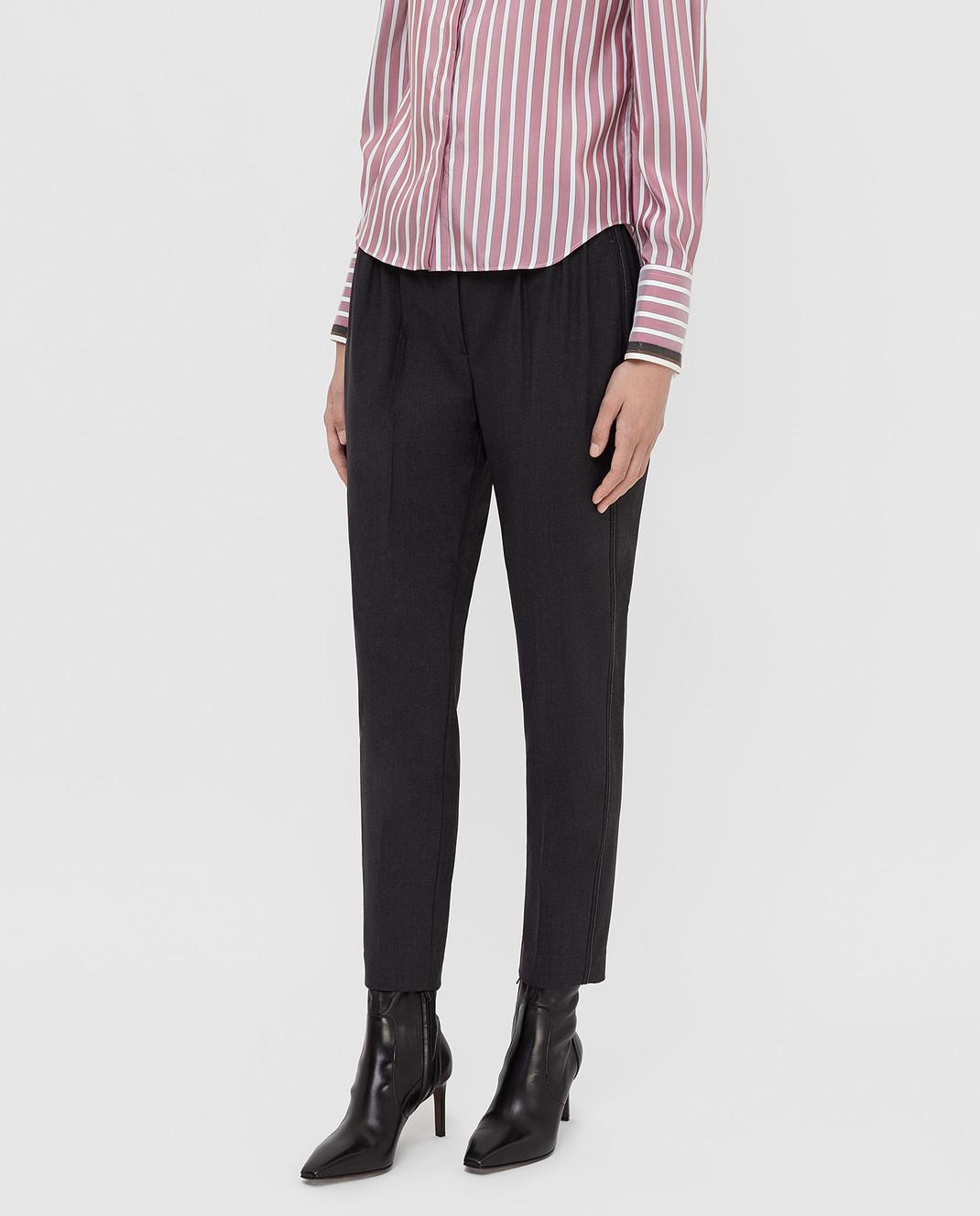 Brunello Cucinelli Темно-серые брюки из шерсти M0W07P6818 изображение 3