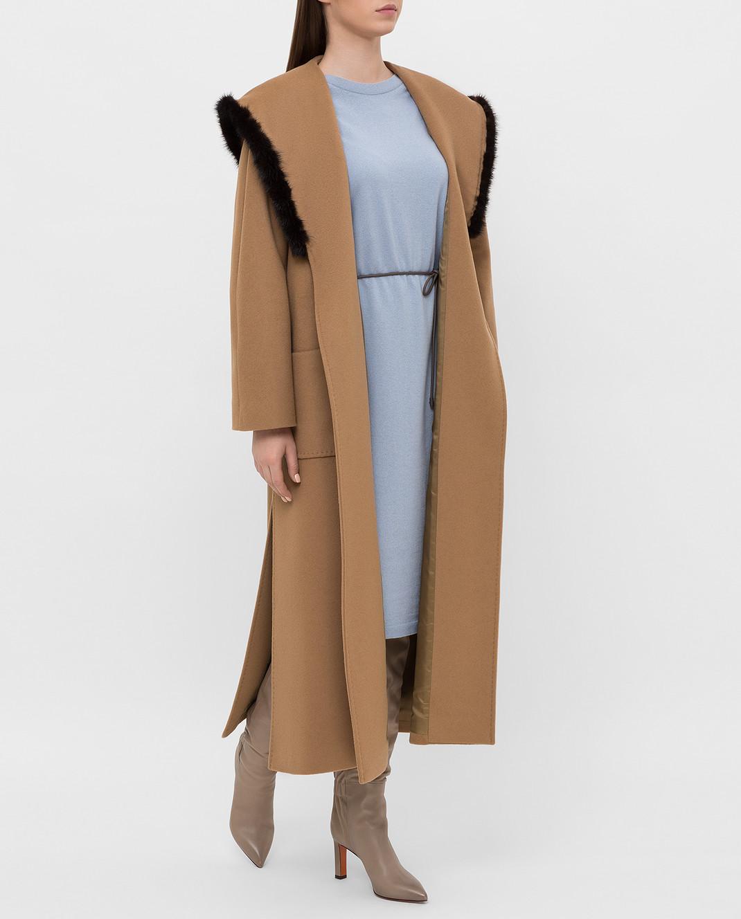 Heresis Бежевое пальто M33130VIA50 изображение 2