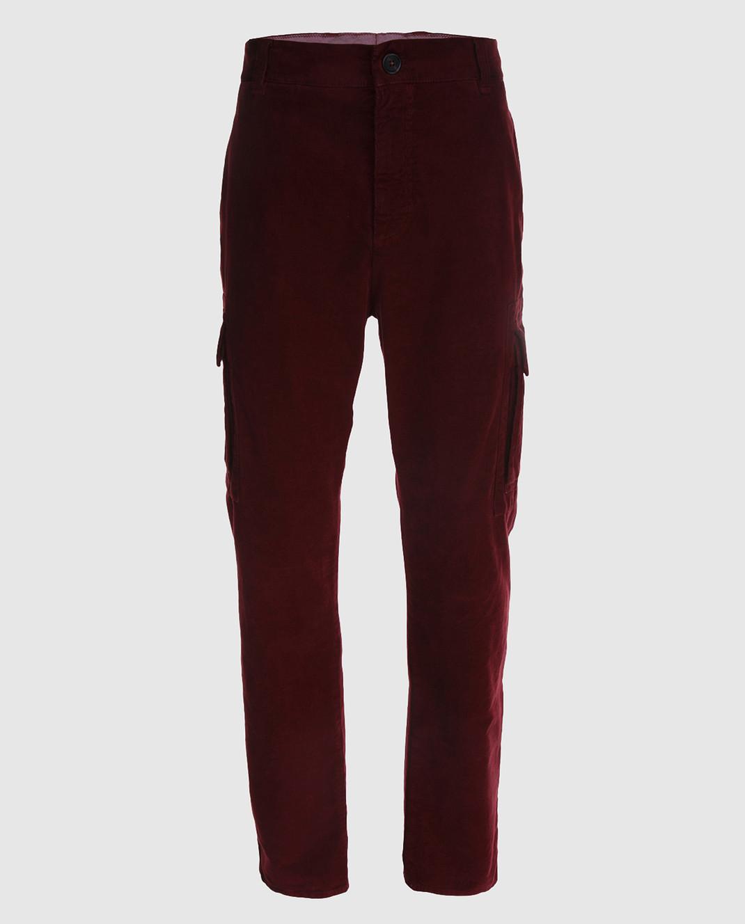 Brunello Cucinelli Бордовые брюки M298DS2120