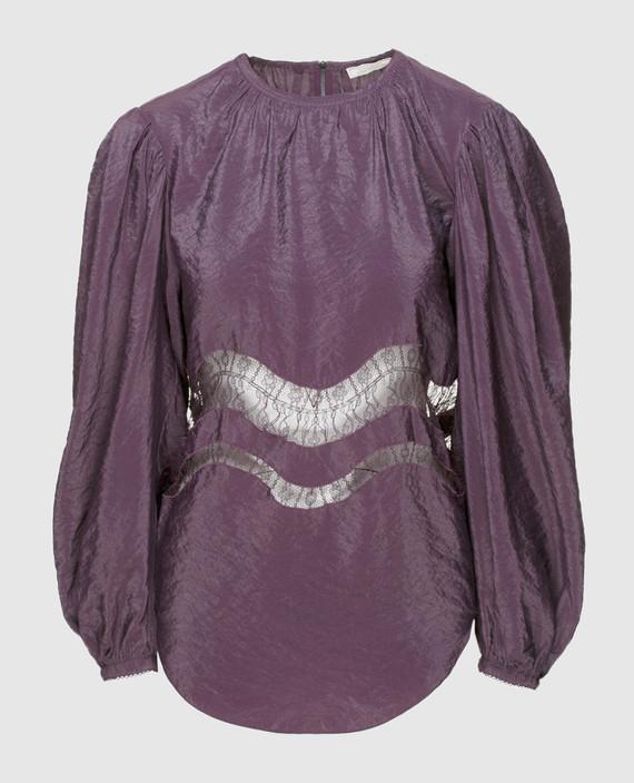 Фиолетовая блуза с деталями из кружева