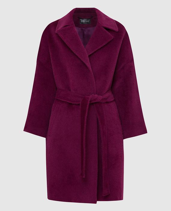 Светло-фиолетовое пальто из ламы и шерсти