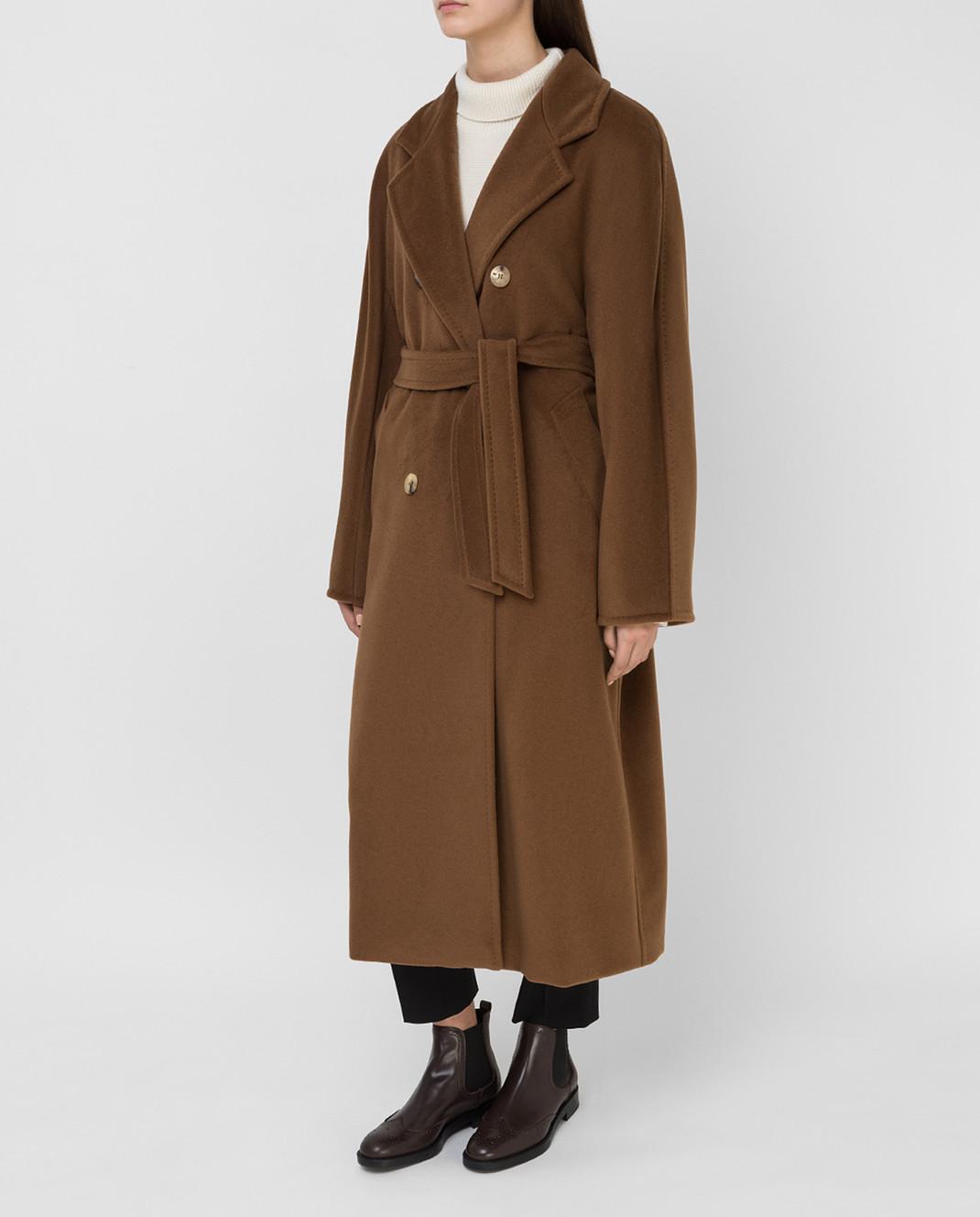 Max Mara Темно-бежевое пальто из шерсти и кашемира изображение 3