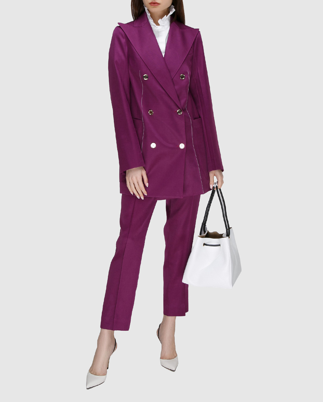 NINA RICCI Фиолетовый жакет из шерсти и шелка 17ECVE017WV0212 изображение 2