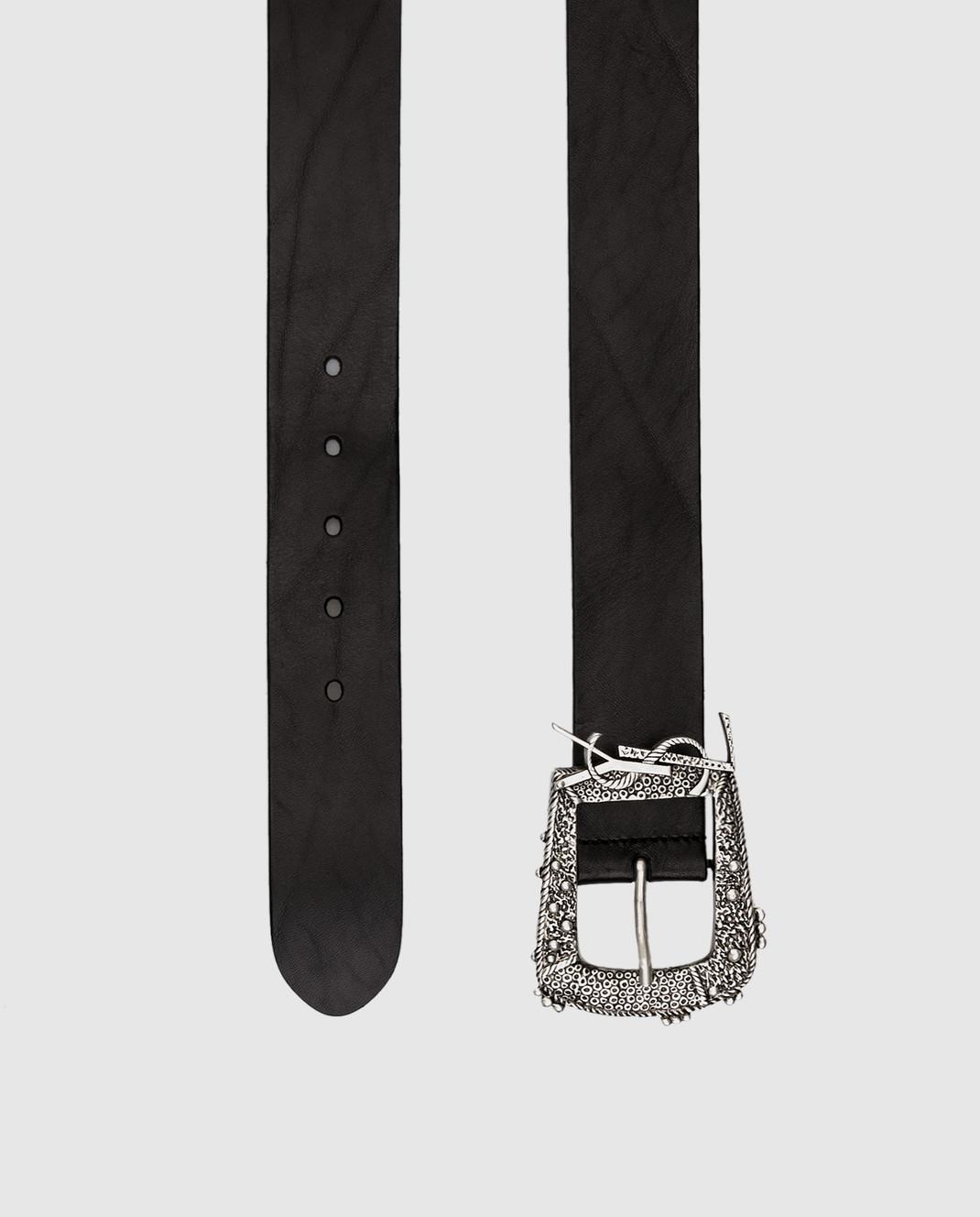 Saint Laurent Черный кожаный ремень изображение 3