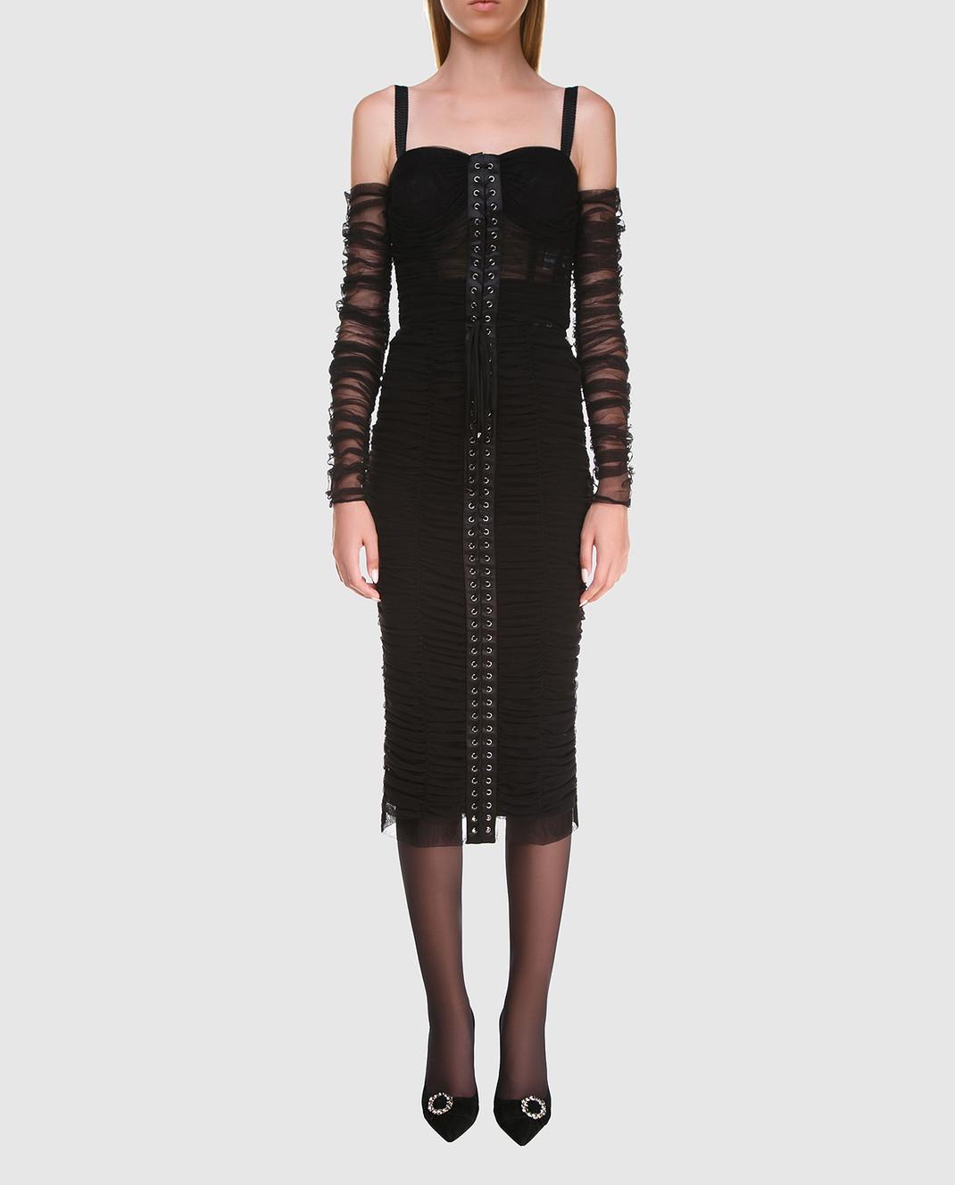 Dolce&Gabbana Черное платье F6A9QTFLEAA изображение 2