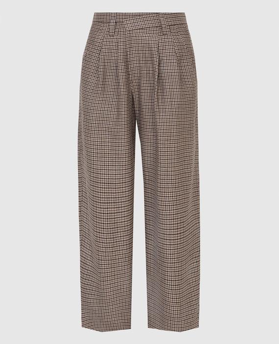 Бежевые брюки из льна, шерсти и шелка