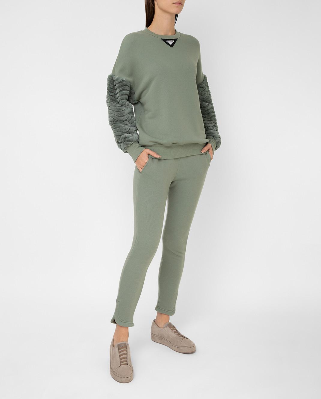 Mr&Mrs Italy Зеленые спортивные брюки JG054E изображение 2