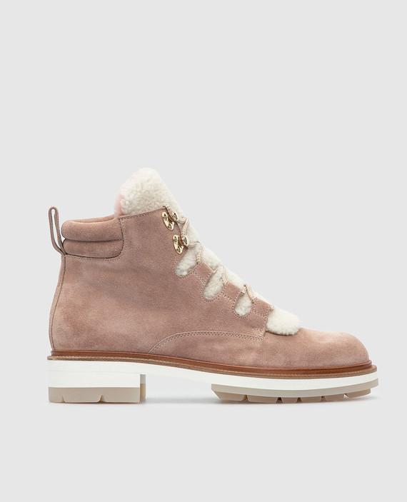 Розовые замшевые ботинки на меху