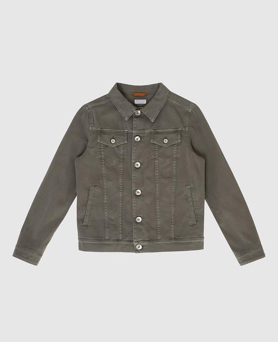 Детская зеленая джинсовая куртка