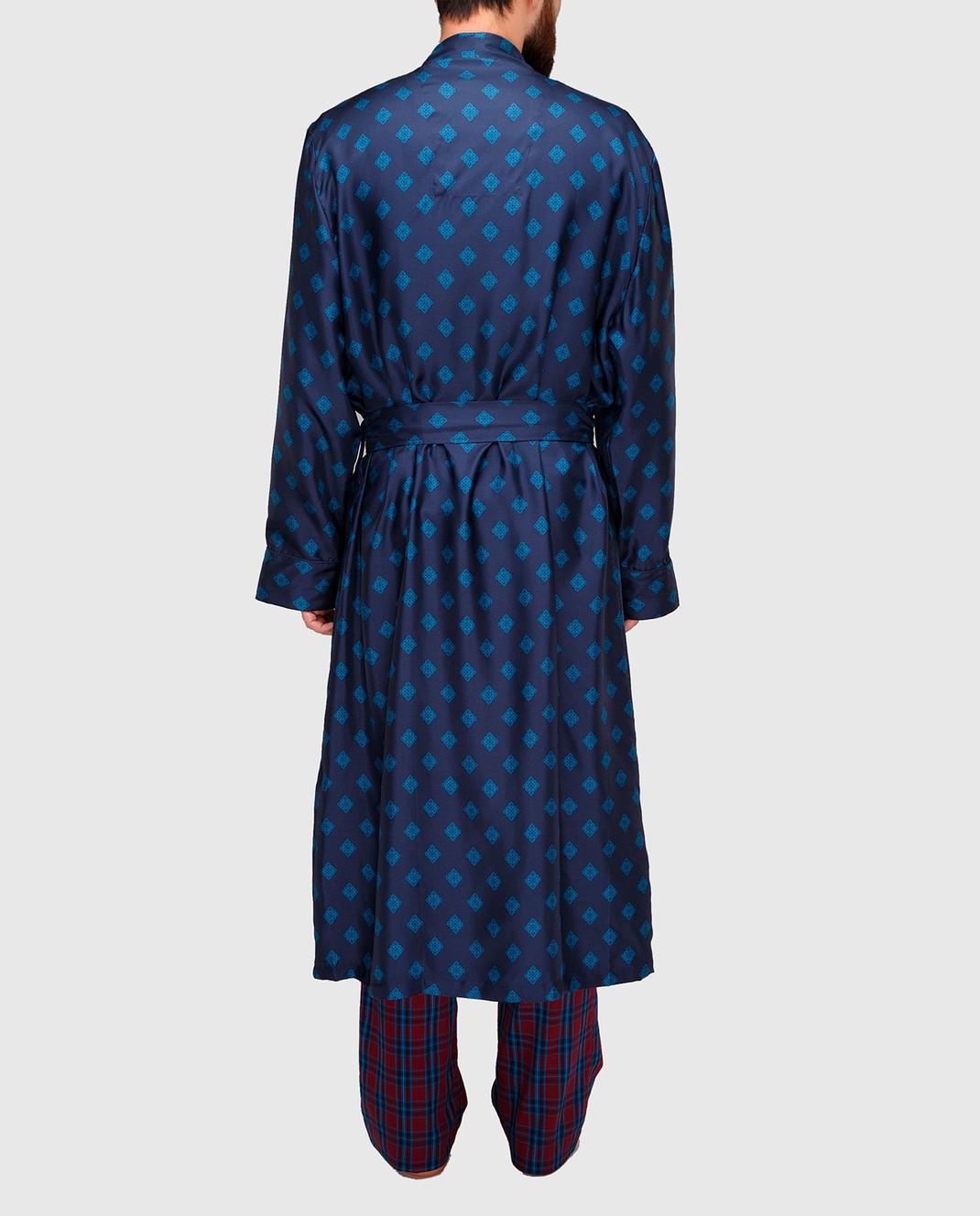 Derek Rose Темно-синий халат из шелка 5535OTIS011 изображение 4