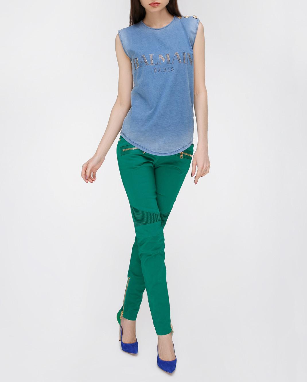 Balmain Зеленые брюки 5356347N изображение 2