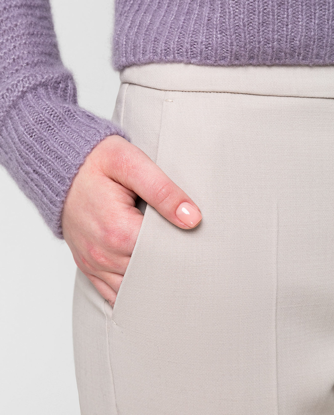 Max Mara Светло-бежевые брюки из шерсти OSTILE изображение 5