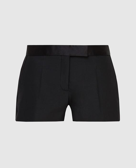 Черные шорты из шерсти и шелка