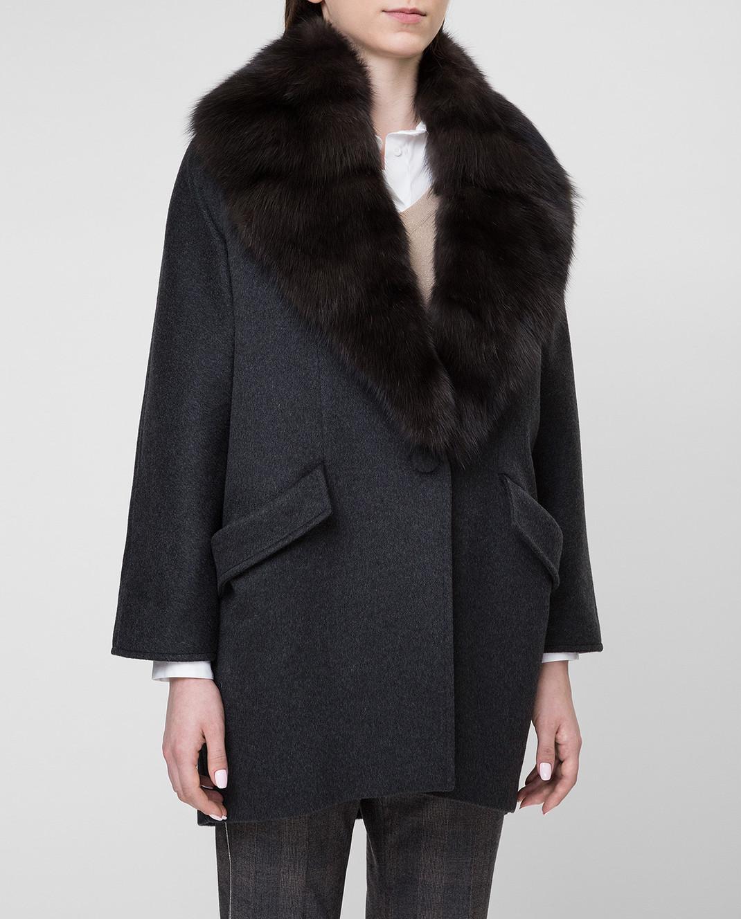 Real Furs House Черное пальто QSR433 изображение 3