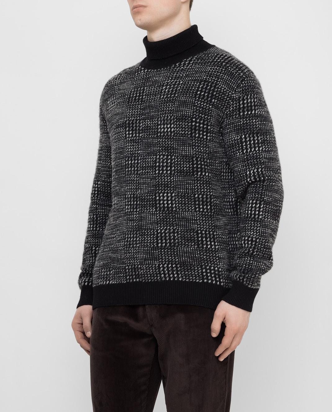 Ermenegildo Zegna Черный свитер из кашемира и шелка URH85120 изображение 3