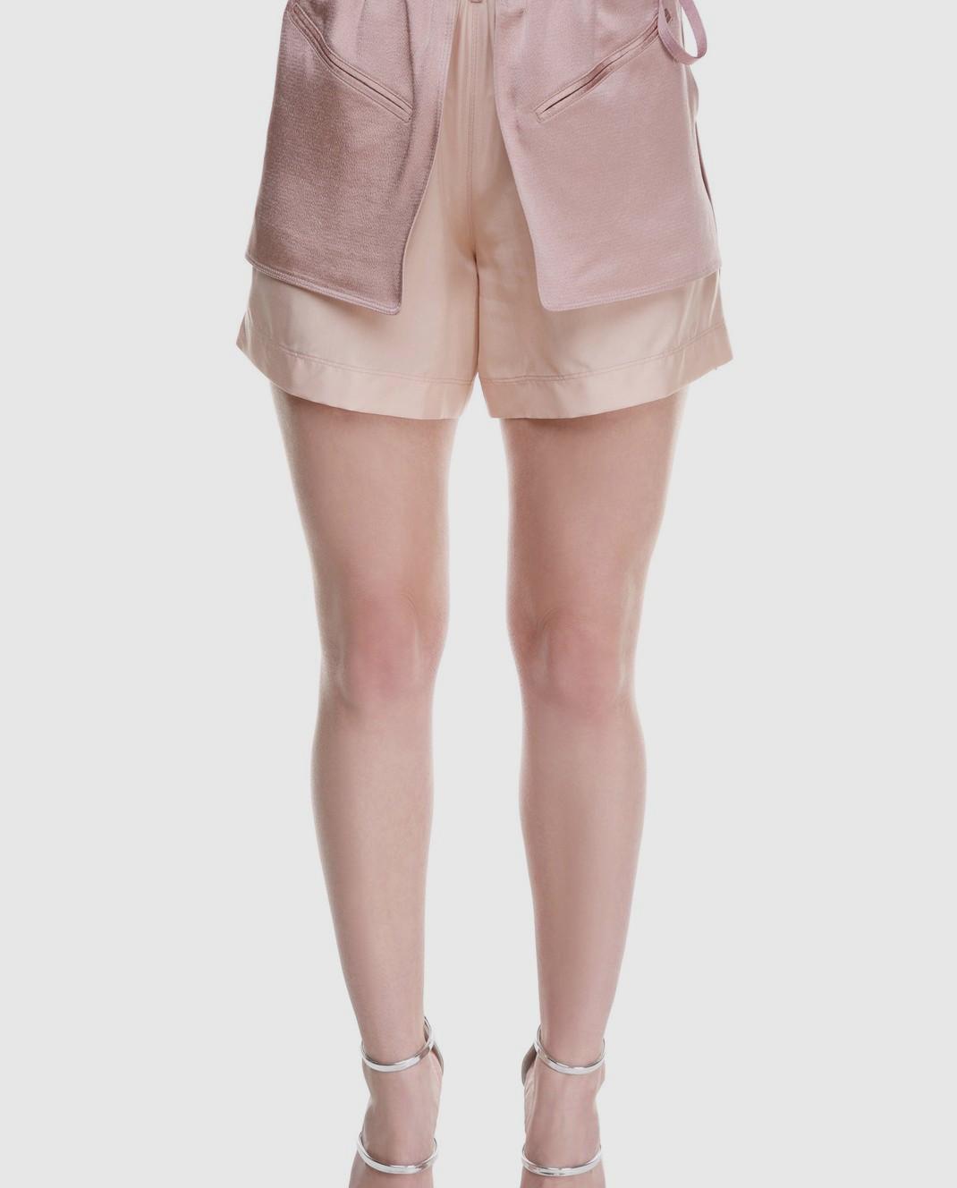 Valentino Розовые шорты из шелка и хлопка PB0RF0N537C изображение 4