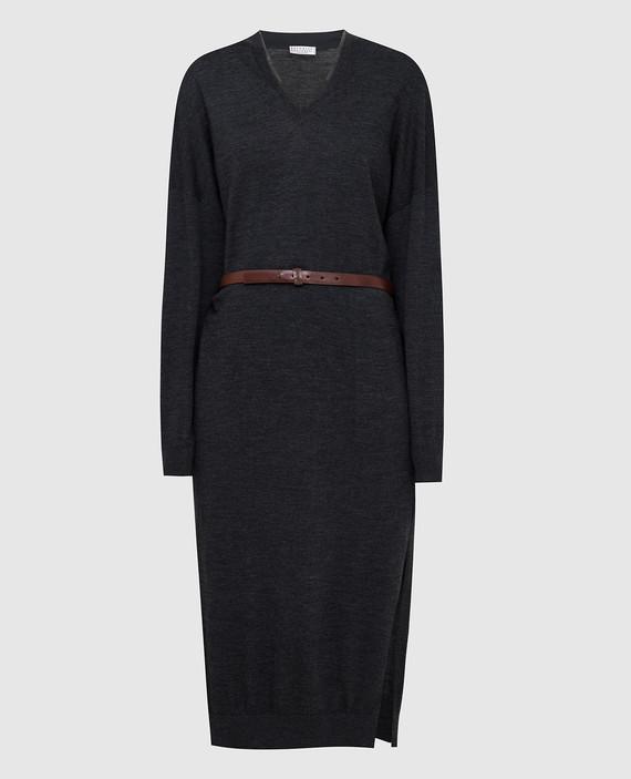 Темно-серое платье из шерсти и кашемира