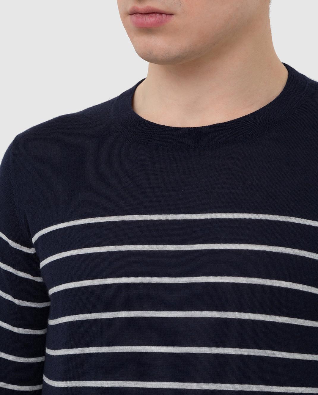 Brunello Cucinelli Темно-синий джемпер из шерсти и кашемира M24802100 изображение 5
