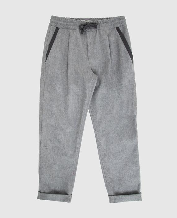 Детские серые брюки из шерсти