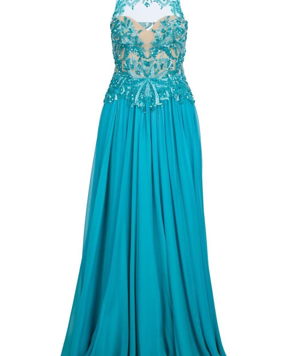 Zuhair Murad Бирюзовое платье из шелка RDRS15008DL99 изображение 5