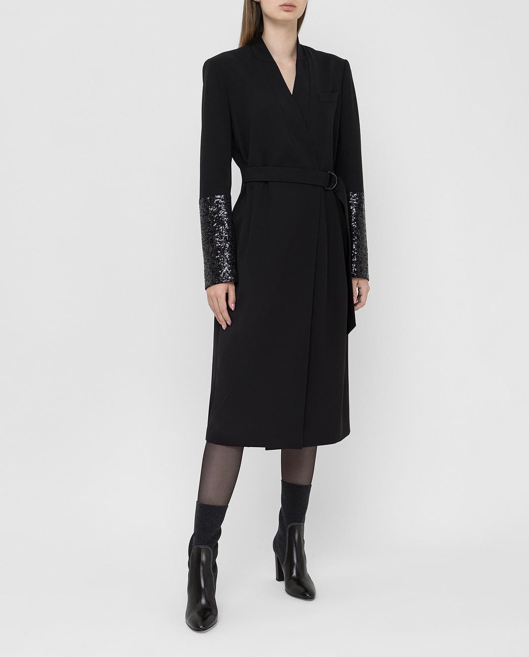 Brunello Cucinelli Черное платье из шерсти изображение 2