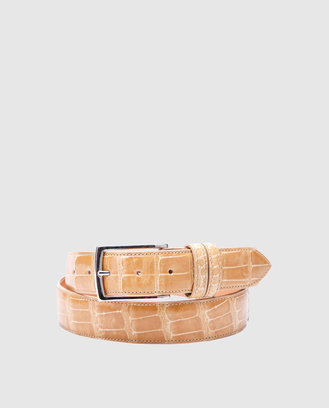 Bochicchio Песочный кожаный ремень ALLIGATBELTS