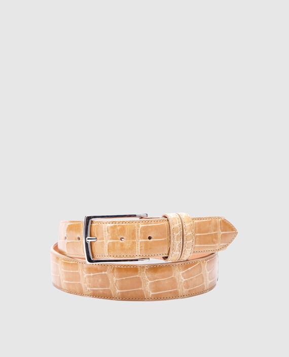 Песочный кожаный ремень