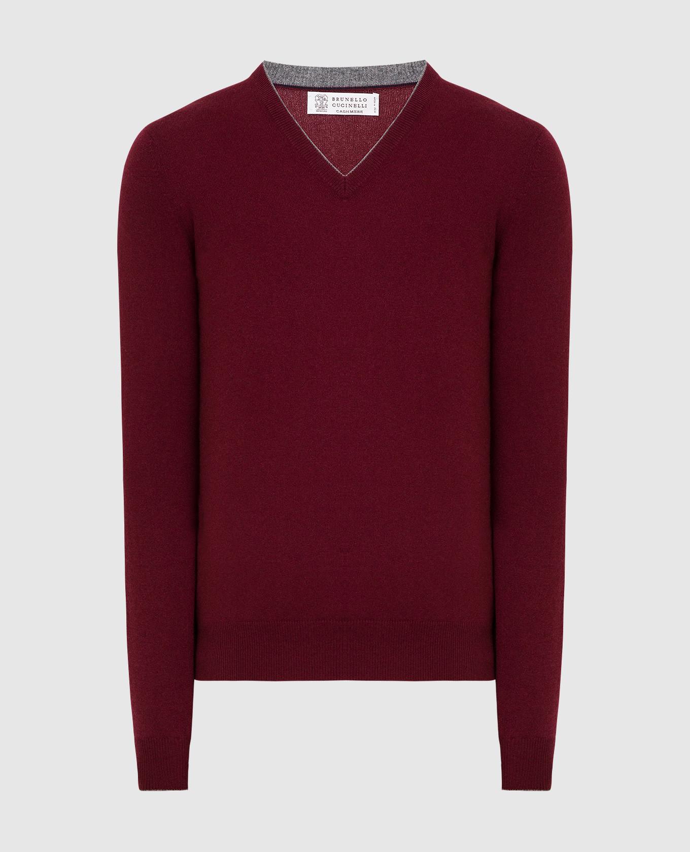 Бордовый пуловер из кашемира