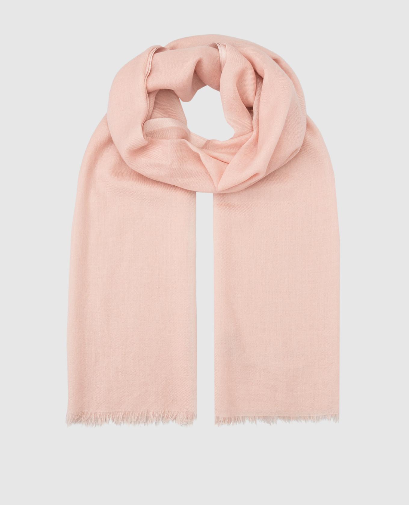 Розовый шарф из кашемира и шелка