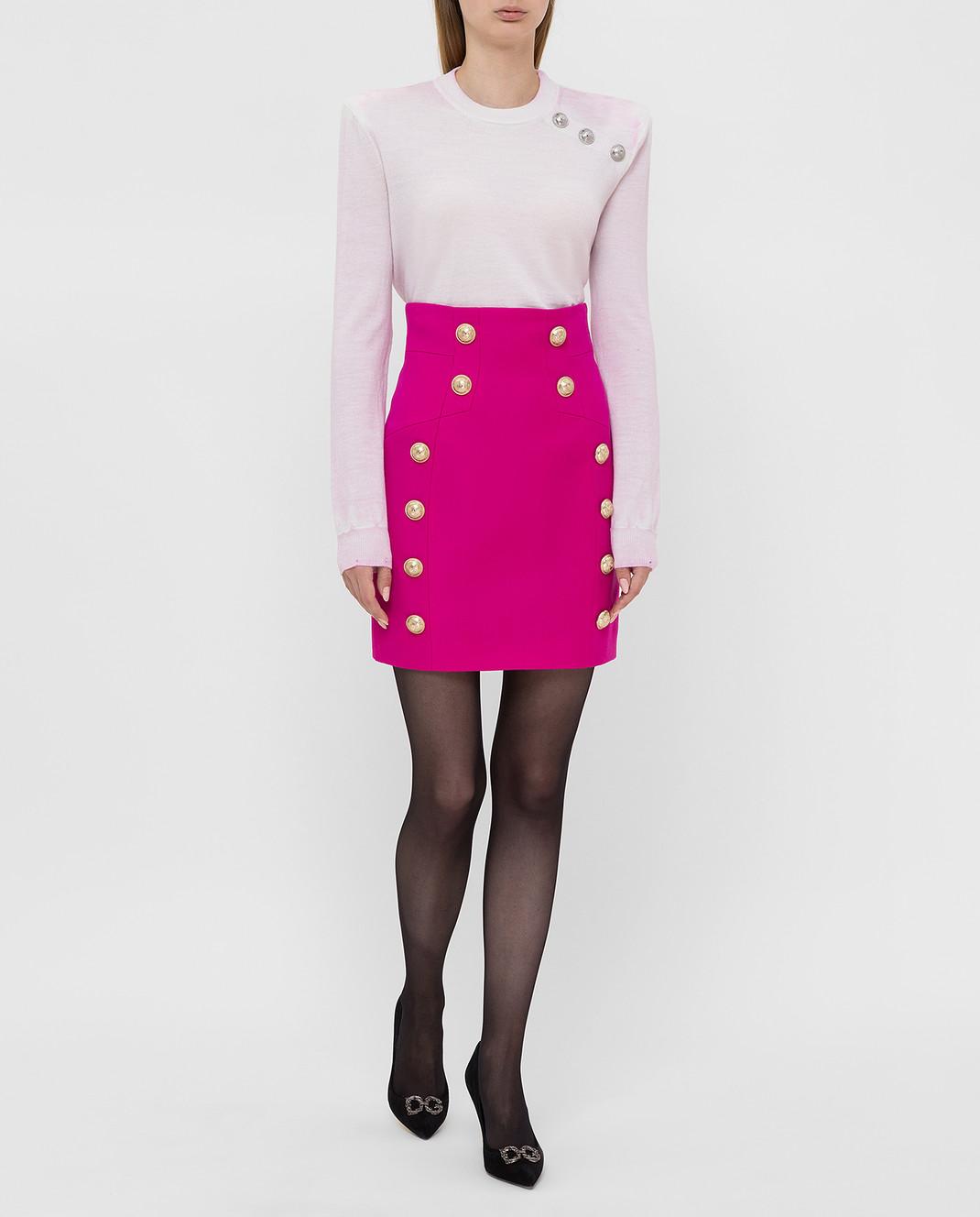 Balmain Светло-розовый свитер из шерсти изображение 2