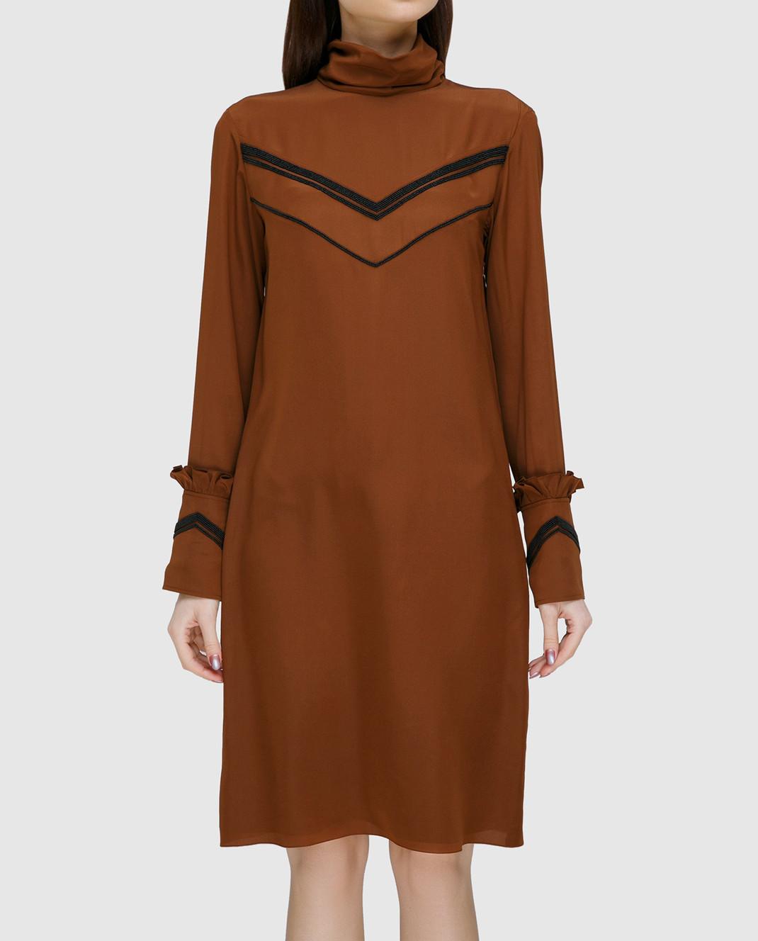NINA RICCI Терракотовое платье из шелка 17PCRO040SE0801 изображение 3