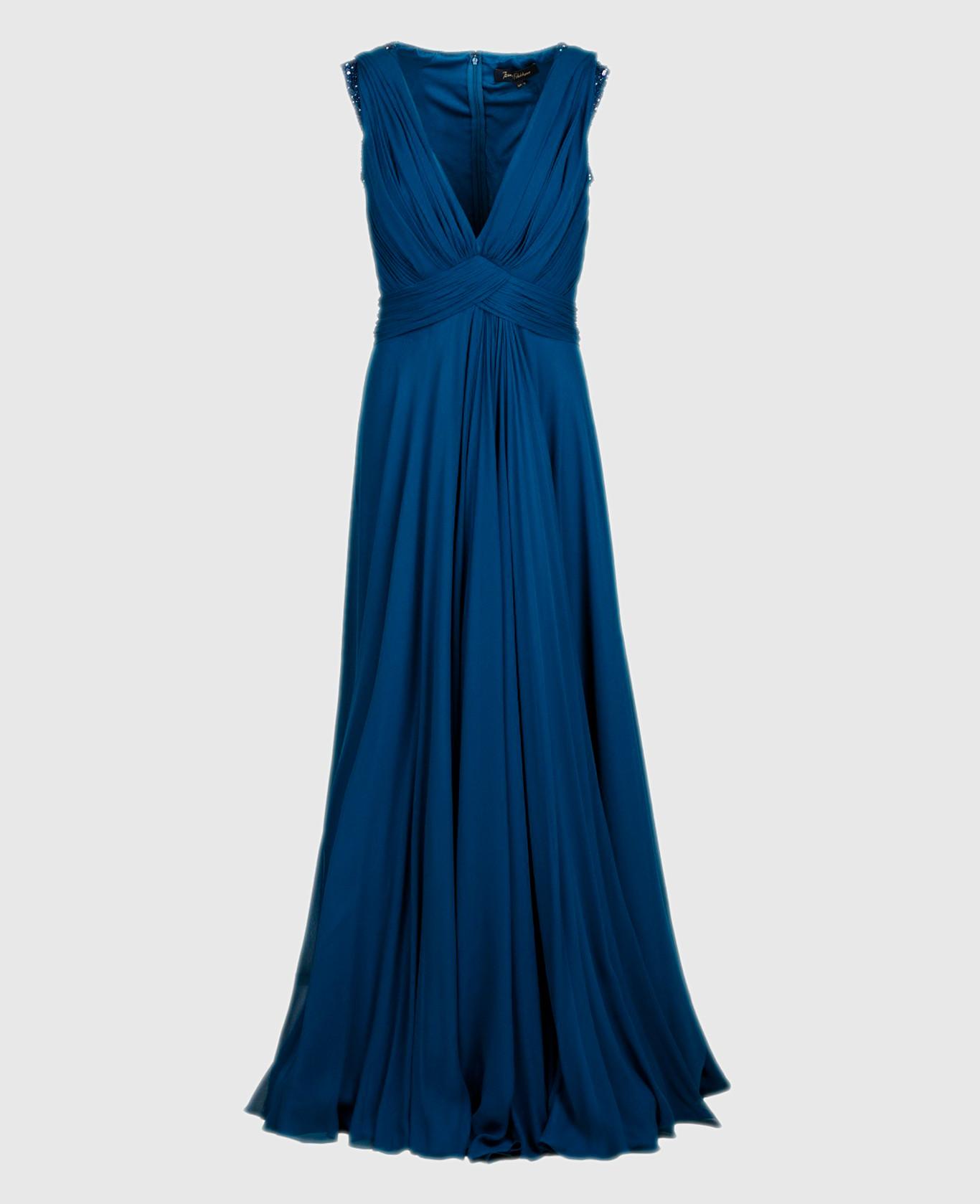 Темно-синее платье из шелка со шлейфом