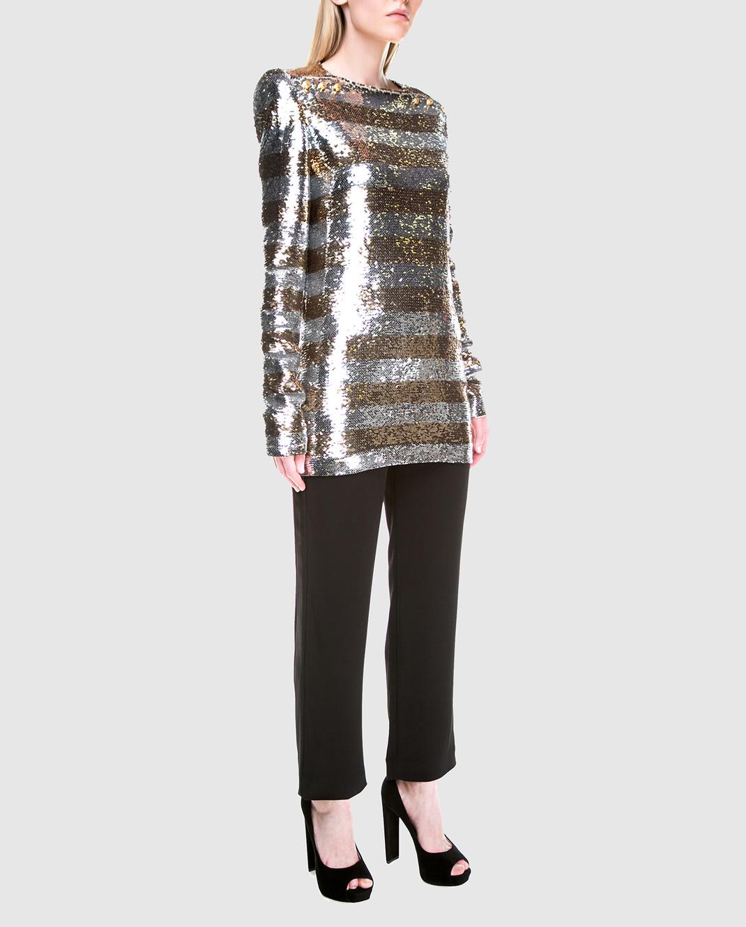 Balmain Серебристая блуза с пайетками 131513 изображение 2