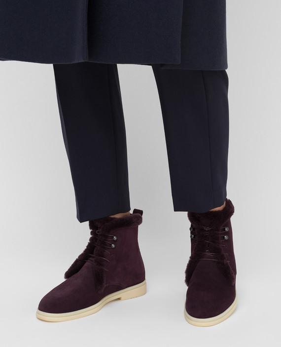 Фиолетовые замшевые ботинки hover