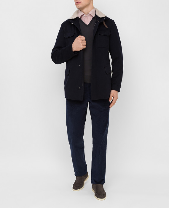 Темно-синее пальто из кашемира hover
