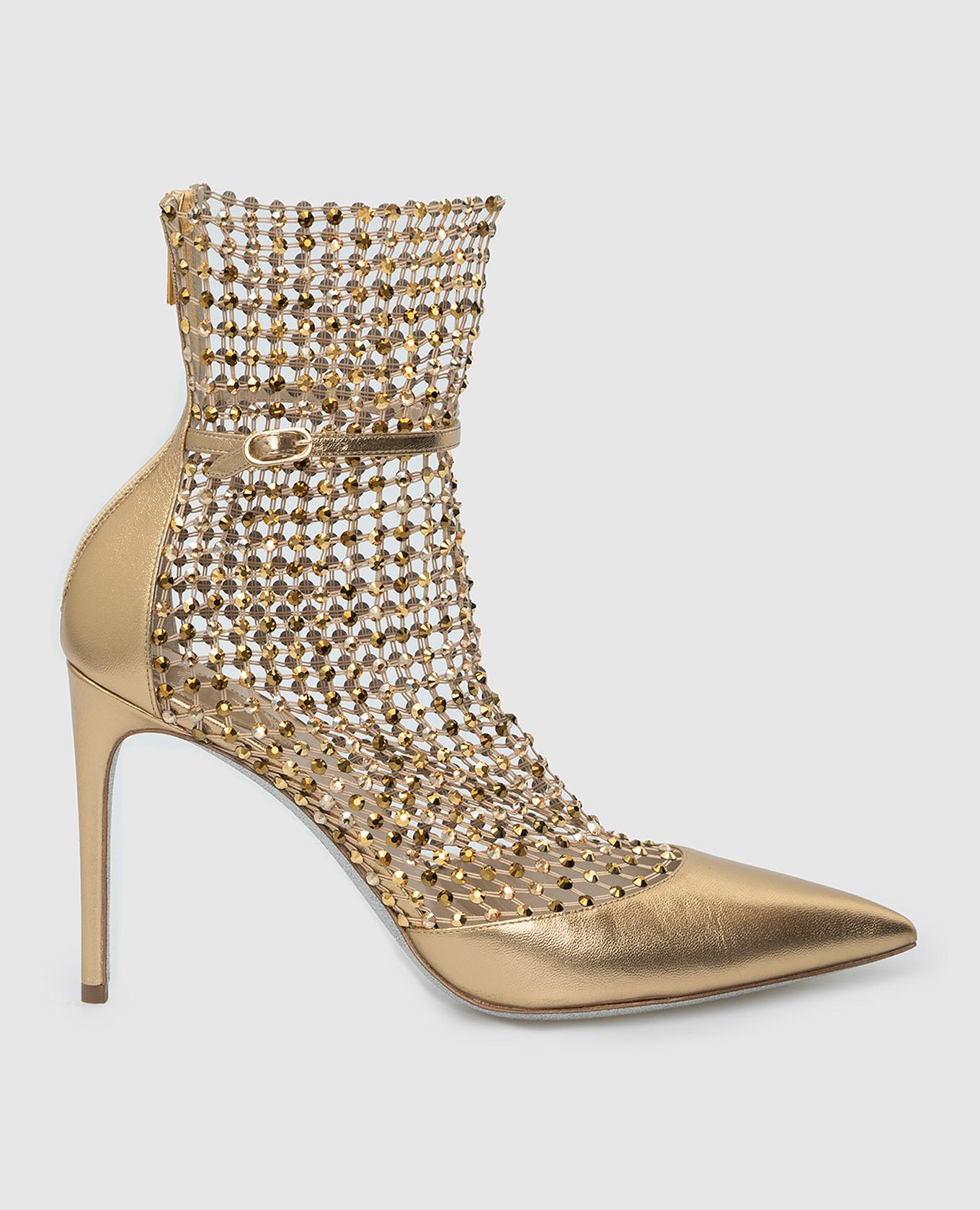Золотистые кожаные лодочки Galaxia с кристаллами Rene Caovilla