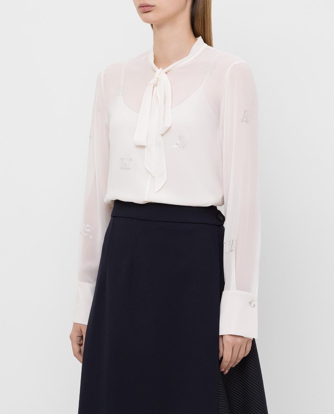 Max Mara Светло-бежевая блуза из шелка изображение 3