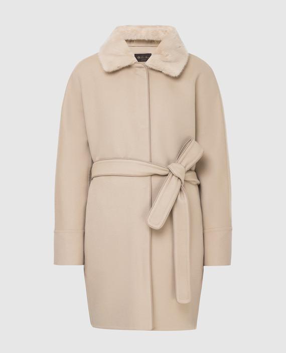 Светло-бежевое пальто из кашемира с мехом норки