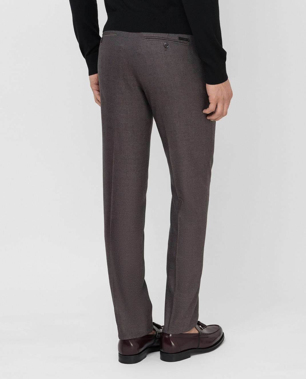 Stefano Ricci Темно-бежевые брюки из шерсти изображение 4