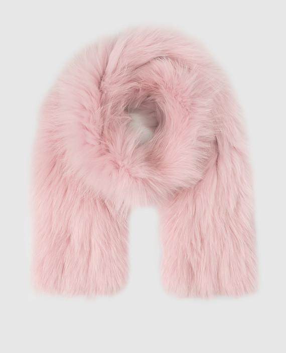 Розовый шарф из меха лисы