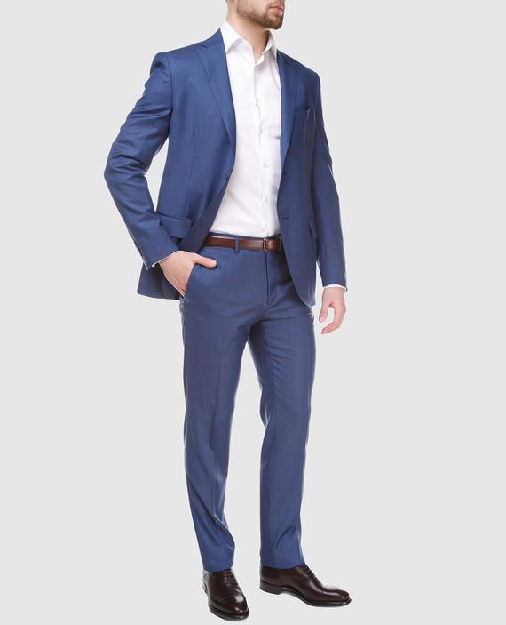 Синий костюм из шерсти hover