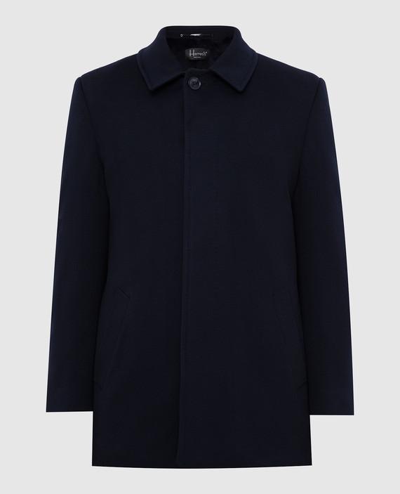 Темно-синее пальто из шерсти на меху из норки