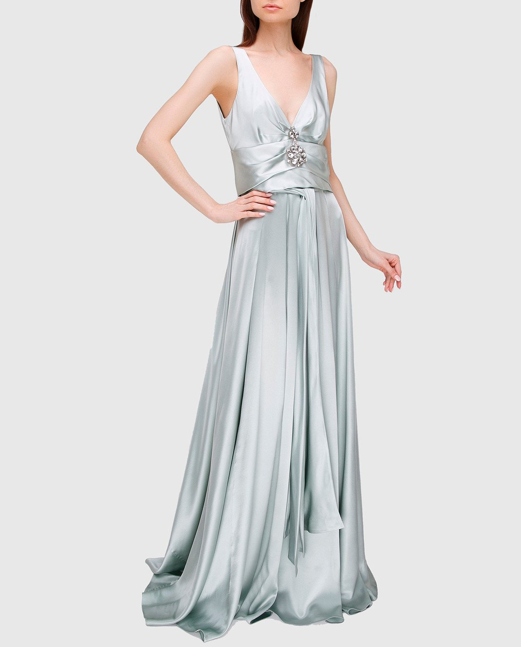 Collette Dinnigan Светло-серое платье из шелка 11115082 изображение 2