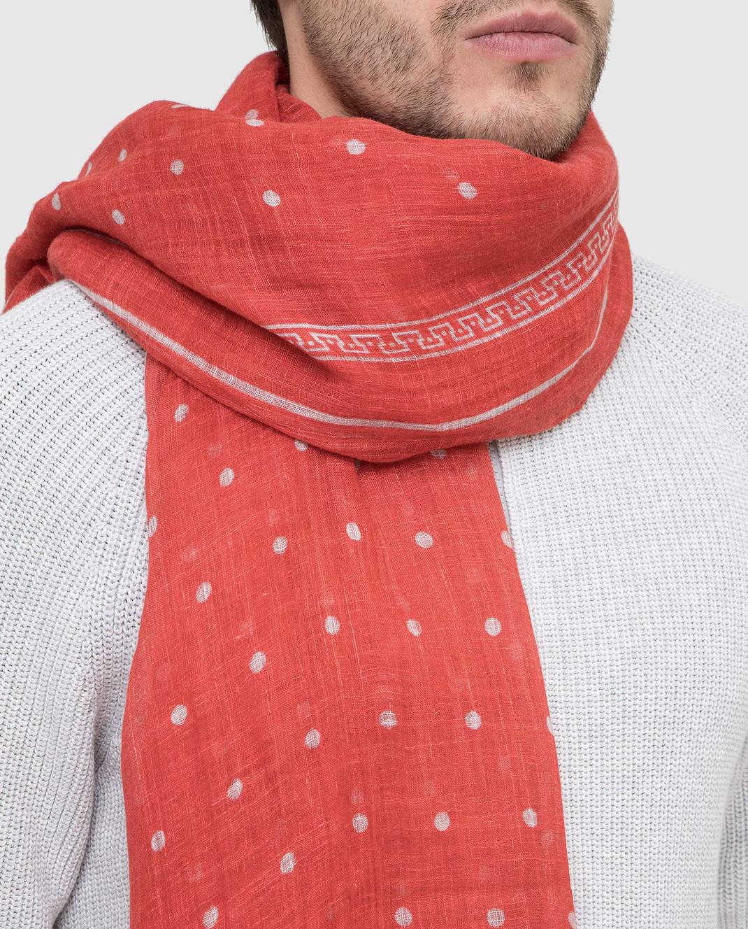 Brunello Cucinelli Коралловый шарф из льна MSC610AG изображение 2