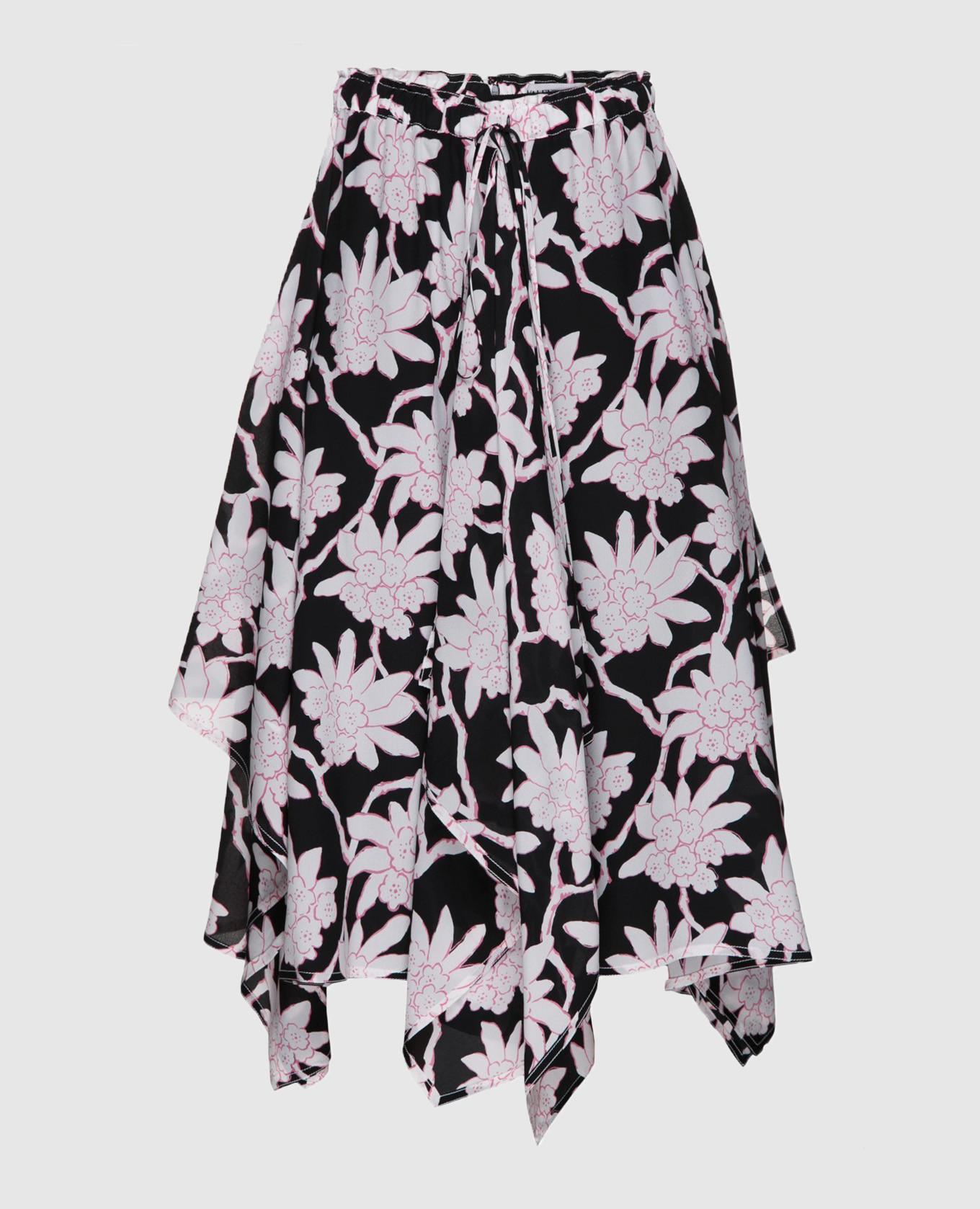 Черная юбка из шерсти и шелка