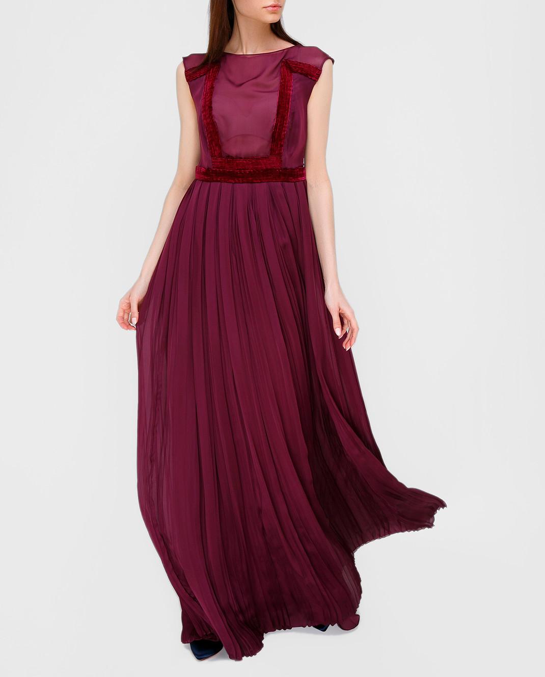 LARUSMIANI Бордовое платье из шелка 077581 изображение 2