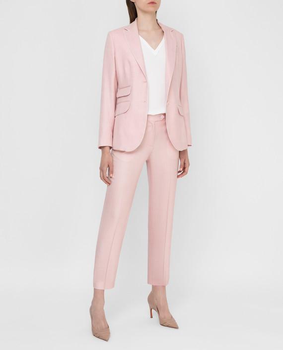 Розовые брюки из шерсти, шелка и льна hover