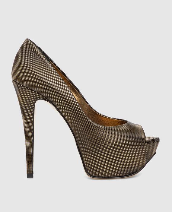 Золотистые кожаные туфли